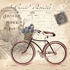 vintage bicycle images for decoupage Vintage Prints, Posters Vintage, Images Vintage, Vintage Pictures, Vintage Cards, Vintage Paper, Vintage Postcards, Vintage Labels, Vintage Retro