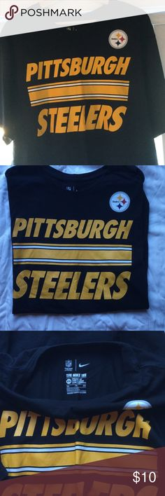 Steelers NFL T-Shirt Men's Pittsburgh T-Shirt. XXL but shrunk in the dryer, fits more like a large or extra large. Color is excellent. No stains or pilling. Nike Shirts Tees - Short Sleeve