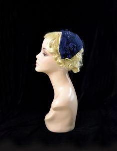 navy blue felt hat, navy blue wedding hat, 40s hat, 40s blue hat, blue retro hat,