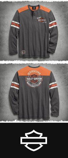 This classic men's long sleeve shirt is soft and faded to perfection with graphics inspired by vintage oil can design. | Harley-Davidson Men's Genuine Oil Can Henley #ValentinesDay #harleydavidsonclothing