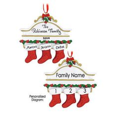 Personalized Mantle With 3 Stockings Ornament ~ Waychoffs