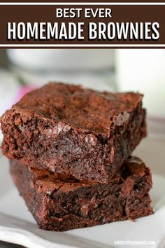 The Best Brownies These easy Homemade Brownies are moist, fudgy and loaded with chocolate! Best Brownie Recipe, Brownie Recipes, Easy Moist Brownie Recipe, Easy Homemade Brownies, Easy Homemade Desserts, Beef Recipes, Baking Chocolate, Chocolate Brownies, Moist Brownies