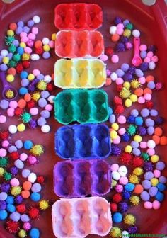 Toddler play activity pom pom colour sorting – Egg Carton Colour Sorting theimaginationtre… – to Sorting Activities, Color Activities, Sensory Activities, Infant Activities, Activities For Kids, Play Activity, Sensory Play, Nursery Activities Eyfs, Autism Activities