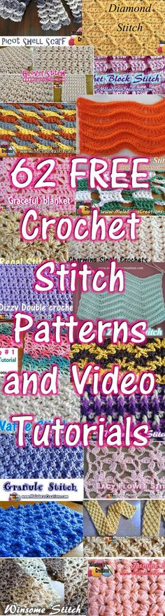 Crochet Stitch Patterns and Video INCLUDES LEFT HANDED Instructions