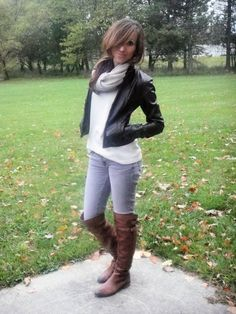Faux Leather Jacket: Target (super old)  Sweater: NY&Co  Jeans: Aeropostale  Boots: Sam Edelman   Scarf: H&M
