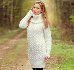 White wool dress soft turtleneck sweater long cable knit mohair tunic SUPERTANYA #SuperTanya #SweaterDress #Casual Thick Sweaters, Hand Knitted Sweaters, Knit Sweater Dress, Wool Dress, Elegant White Dress, 6 Inches, Modeling, Clothes, Lady