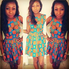 Ankara Skater Dress with cutout