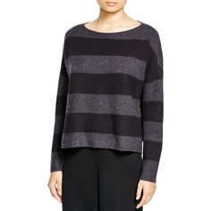 Eileen Fisher Striped Boat Neck Sweater ($198) ❤ liked on Polyvore featuring tops, sweaters, charcoal, boat neck tops, charcoal sweater, eileen fisher, boat neck sweater and slouchy sweater