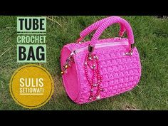 Crochet || how to make tube crochet bag || with english subtitel - YouTube