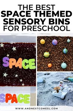 Looking for fun space sensory activities? Try these outer space themed sensory bins that are perfect for toddlers, preschool kids, or kids who just love all things related to outer space or planets! #sensory #sensoryplay #sensorybin #preschool #sensorybins #outerspace Sensory Activities For Autism, Space Activities For Kids, Toddler Activities, Sensory Bottles, Sensory Bins, Sensory Play, Space Theme Preschool, Preschool Ideas, Teaching Ideas