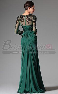 #bridesmaiddresses Hunter Green Chiffon and Lace Jewel Neck Long Mermaid Bridesmaid Slit Dress with Long Sleeve JT-CA1338