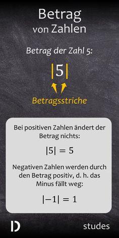 Der #Betrag einer #Zahl.  Bei positiven Zahlen ändert der Betrag nichts. Negative Zahlen werden durch den Betrag positiv, d. h. vereinfacht gesagt: das Minus fällt weg. Viel Spaß mit dem Video! | studes