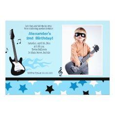 Cute little rock star birthday party invitation in blue #card #invite #rocker