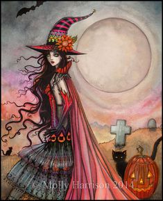 Hey, I found this really awesome Etsy listing at https://www.etsy.com/listing/203328442/original-painting-the-fanciful-witch