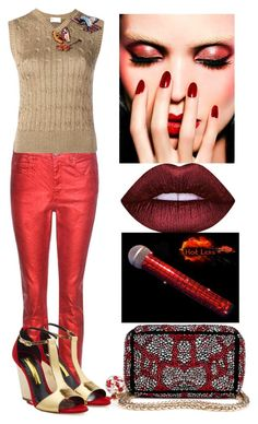 """""""Metallic makeup:red"""" by subvilli ❤ liked on Polyvore featuring beauty, Étoile Isabel Marant, RED Valentino, Christian Louboutin, Rupert Sanderson, red, valentino and metallicmakeup"""