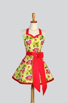 Sweetheart Retro Apron / Retro Cherries from Michael Miller are featured in a Handmade Retro Womens Full Kitchen Apron