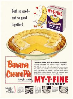 Dying for Chocolate: Double Chocolate Banana Cream Pie: Banana Creme Pie Day! Banana Cream Pies, Retro Recipes, Old Recipes, Vintage Recipes, Old Advertisements, Retro Advertising, Retro Ads, 1950s Ads, 1950s Food