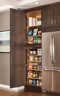 Kitchen Storage Next To Fridge - Kitchen Storage, Kitchen Organization Ideas & Pantry Organizers Pantry Cupboard, Pantry Shelving, Kitchen Organization Pantry, Kitchen Cabinet Organization, Kitchen Storage, Organization Ideas, Storage Ideas, Pantry Ideas, Cabinet Ideas