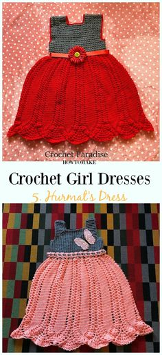 Crochet Hurmat's Dress Free Pattern - Girl #Dress Free #Crochet Patterns