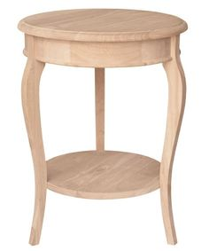 """Cambria Unfinished Side/Accent Table Free Shipping! Our solid Parawood side table features stylish curved legs and a lower shelf. Dimensions: 16"""" Diameter x 25"""" Tall Ships unfinished and unassembled."""