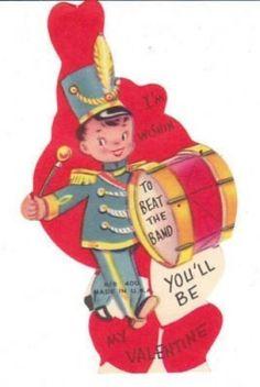 Drum Major Marching Vintage Valentine Unused Die Cut Card by BirdhouseBooks on Etsy