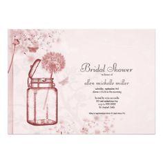 Mason Jar Bridal Shower Dandelions and Butterfly Custom Invitation