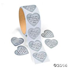 Silver Heart Thank You Stickers. Great for sharing love and thanks! Add Silver Heart Thank You Stickers to wedding favor bags, thank you cards and reception . Wedding Cake Boxes, Wedding Favor Bags, Wedding Paper, Thank You Stickers, Cool Stickers, Heart Bubbles, Bubble Bottle, Reception Table Decorations, Fun Express