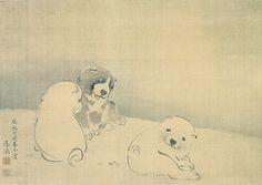 狗子図 / 円山応挙 1778年 these puppies are painted over 200 years ago