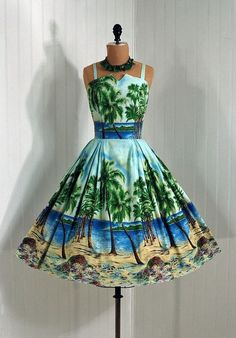 Beach Graphical Print Dress, 1950s style, Timeless Vintage Vixen