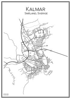 Kalmar. Sverige. Karta. City print. Print. Affisch. Tavla. Tryck.