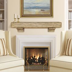 Beautiful right? Charming frontier flavor that will create a rustic atmosphere for any room. Hand-hewn edges enhance the natural beauty of the wood grain. Pine shelf.  Check out the beautiful finishes for this mantel: http://www.brick-anew.com/the-ridgewood-fireplace-shelf.html  Brick-Anew #RusticMantels #PineMantels #WoodMantels #MantelShelves