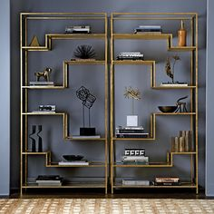 Mansfield Étagère | The Mansfield Étagère is like a piece of fine jewelry – although not absolutely essential, it elevates absolutely everything. The distressed mirror shelves and gold leafed frame perfectly display treasured collections of books, objets, décor & more. Place two side by side for a truly striking statement.