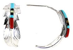 By Navajo Artist Freddy Barney: Sterling-silver Large Half-Hoop earrings -- To view further for this item, visit the image link.