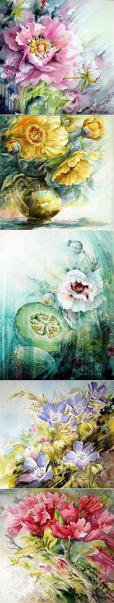 Пусть о любви моей букет цветов расскажет… ~ Потрясающие акварели француженки Marie Claire Moudru.