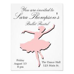 Ballet Recital Concert Pink Ballerina Card Concert Pink Recital