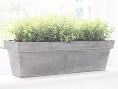 320cb5fb175 VINTAGE SILVER ZINC TROUGH PLANTER PLANT GARDEN PATION WINDOW BOX SILL TUB  HERB in Garden &
