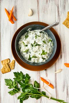 Authentic Greek Tzatziki. A cool cucumber-yogurt dip, flavored with lime and cilantro.