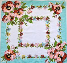 Vintage Oversized Hanky with Pansies