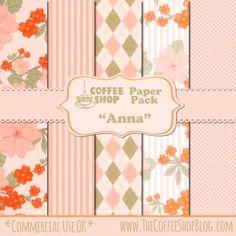 "FREE The CoffeeShop Blog: CoffeeShop ""Anna"" Digital Paper Pack!"