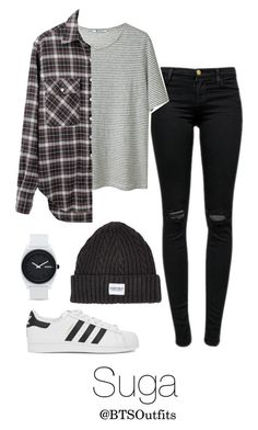 """When you First Meet Him: Suga"" by btsoutfits ❤ liked on Polyvore featuring J Brand, T By Alexander Wang, A Question Of, adidas Originals, R13 and Nixon"