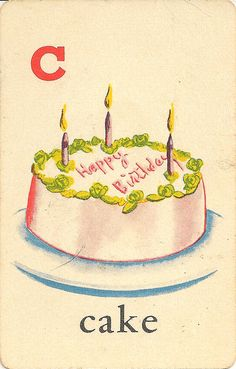C is for Cake | ABC Educational Cards | Edu-U-Card Mfg | NY | 1956 | vintage midcentury modern color