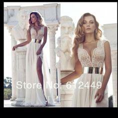2014 New Open leg Floor Length Evening Dress Lace V-neck side split Chiffon Fashion