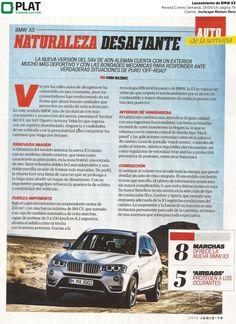 Inchcape Motors: Prueba de manejo para el lanzamiento de nueva X3 en la revista Correo Semanal de Perú (19/06/14)