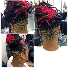 by at - New Hair Design Dreadlock Styles, Dreadlock Hairstyles, Braided Hairstyles, Dreadlocks Undercut, Trendy Hairstyles, Undercut Hair Designs, Undercut Women, Braids With Shaved Sides, Half Shaved