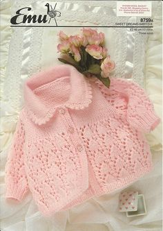 Beautiful lace on this pretty little jacket. Collar with Picot Border (stockinette). ~~ Ravelry: Baby Sweater pattern by Emu Wools Ltd Nr 8759A ($$)