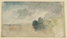 """Joseph Mallord William Turner, """"Fák egy tó vagy folyó, a felhős égbolt"""" c.1820-40"""