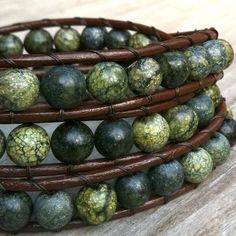 leather bracelets with beads | Forest - Brown Leather 3-wrap bracelet green mix earthy gemstone beads ...