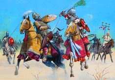 The Battle of Nineveh, 12 December AD By Zvonimir Grbasic. Fight Sasanian and Byzantine horsemen Medieval Knight, Medieval Armor, Military Art, Military History, Byzantine Army, Persian Warrior, Sassanid, Empire Romain, Ancient Persia