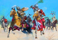 Combat between Byzantine Cataphracts and Saracen horsemen