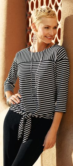 Travelers™ Amp up basic black with a mixed-stripe top. Easy and versatile, these pieces stay chic while remaining wrinkle-free. Chicos Fashion, Modelos Fashion, Mode Top, Front Tie Top, Casual Tops, Dressmaking, Spring Outfits, Knitwear, Casual Outfits